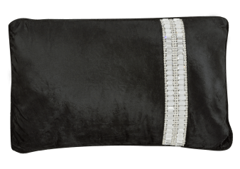 "20x20"" Black Decorative Pillow with Grey Silver Stitched Stones product photo"