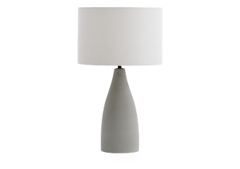 Grey Cement Bedside Lamp with Linen Shade product photo