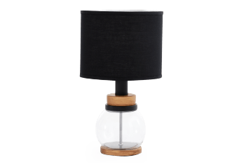 Glass and Metal Bedside Lamp with Black Shade product photo
