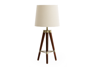 Wooden Table Lamp with Beige Shade product photo