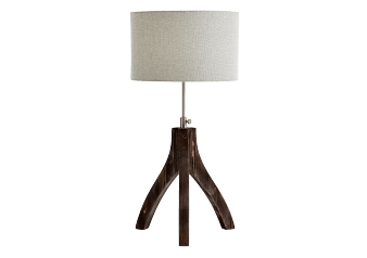Wooden Table Lamp with Grey Fabric Shade product photo