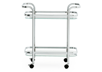 Silver Metal, Tempered Glass and Mirror Trolley product photo