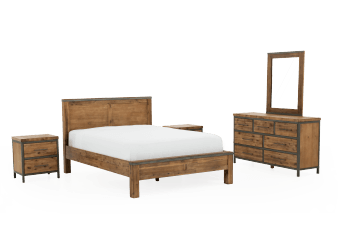 Acacia and Metal Bedroom Set - King product photo