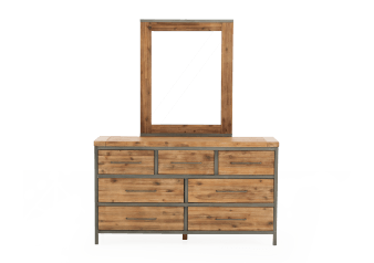 Acacia and Metal 7-Drawer Dresser and Mirror Set product photo