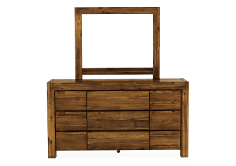 Brown Acacia 9-Drawer Dresser and Mirror Set product photo