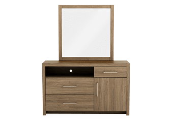 Brown 3-Drawer Dresser and Mirror Set product photo