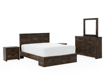 Dark Brown Bedroom Set with Drawers - Queen product photo