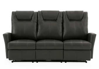 Dark Grey Reclining and Battery Motorized Sofa with Genuine Leather Seats product photo