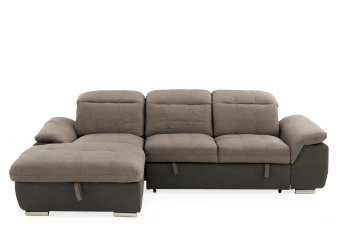 Brown Upholstered Sectional Sofa-Bed product photo