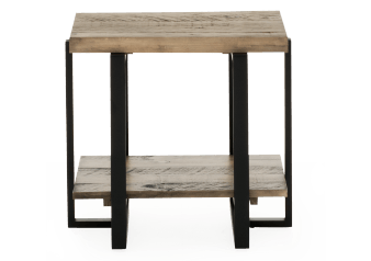 Grey Brown Wood and Metal End Table product photo