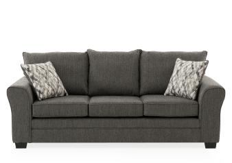 Dark Grey Upholstered Sofa with Decorative Pillow product photo