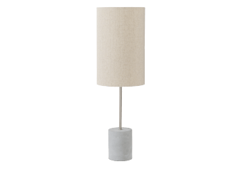 Concrete and Metal Bedside Lamp with Ivory Linen Shade product photo