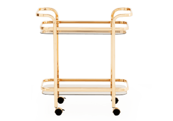 Golden Yellow Metal, Tempered Glass and Mirror Trolley product photo