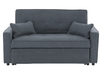 Grey Upholstered Sofa-Bed with Decorative Pillows product photo