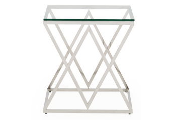 Metal End Table with Glass Top product photo