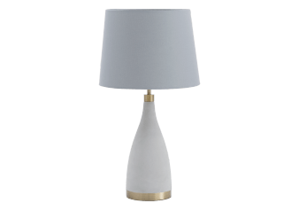 Grey Cement Bedside Lamp with Fabric Shade product photo