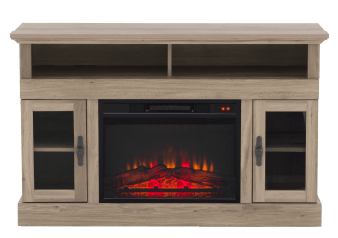 Brown Wood Electric Fireplace product photo