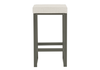 Grey Metal Stool with Beige Upholstered Seat product photo