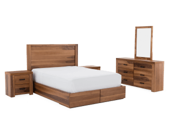 Brown Acacia Bedroom Set - Drawer Bed - King product photo