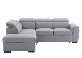 Grey Upholstered Sectional Sofa-Bed with Storage product photo