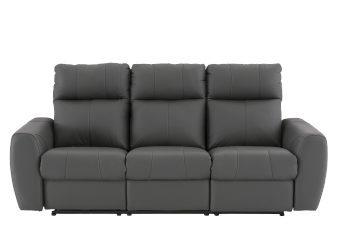 Dark Grey Reclining and Motorized Sofa with Genuine Leather Seats and Adjustable Headrests - ELRAN product photo