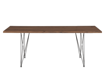 Brown Wood Table with Black Metal Legs product photo