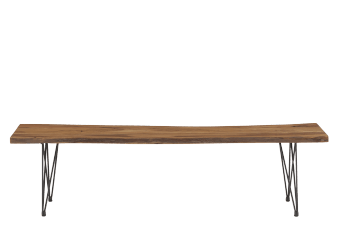 Brown Wood Bench with Black Metal Legs product photo
