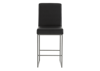Metal Stool with Black Upholstered Seat product photo