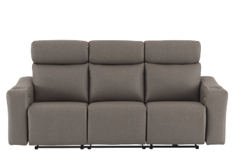 Brown Grey Reclining and Motorized Upholstered Sofa with Adjustable Headrests and Cup Holders - ELRAN product photo
