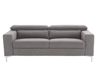 Grey Upholstered Sofa with Adjustable Headrests product photo