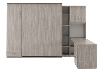 Grey Wall Murphy Bed with Desk - Twin Bed product photo
