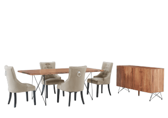 Brown Wood and Black Metal Dining Room Set product photo