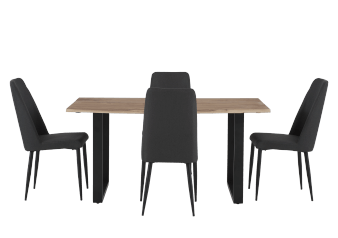 Beige Wood and Black Metal Kitchen Room Furniture product photo
