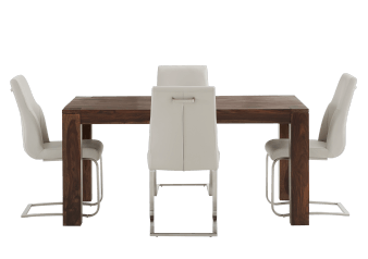 Brown Wood Kitchen Room Furniture with Beige Chairs product photo