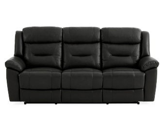 Dark Grey Reclining Sofa with Genuine Leather Seats product photo
