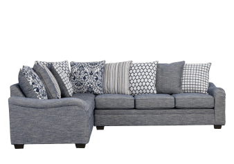 Blue Upholstered Sectional Sofa with Decorative Pillows product photo