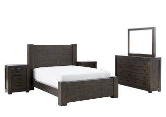 Brown Grey Wood Bedroom Set - King product photo
