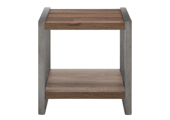 Grey Wood End Table with Metal Legs product photo
