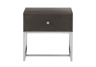 Brown End Table with Metal Legs and Drawer product photo