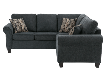 Dark Grey Upholstered Sectional Sofa with Decorative Pillows product photo