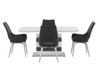 White and Grey Wood Kitchen Room Furniture with Black Chairs  product photo