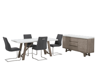 Brown and White Acacia Dining Room Furniture with Dark Grey Chairs product photo