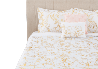 White and Golden Yellow Cover Set - Queen Size product photo