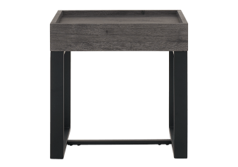 Dark Grey End Table with Black Metal Legs product photo