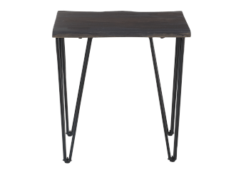Dark Grey Wood End Table with Black Metal Legs product photo