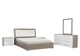 White and Grey Bedroom Set - Queen product photo