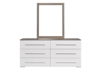 White and Grey 6-Drawer Dresser and Mirror Set product photo