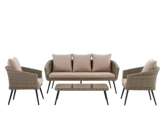 Beige Metal and Wicker Patio Furniture product photo
