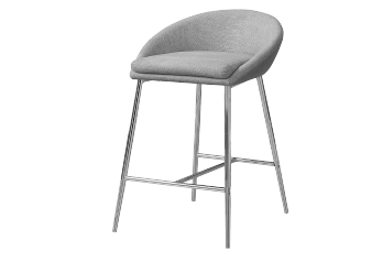 Stool with Grey Upholstered Seat product photo