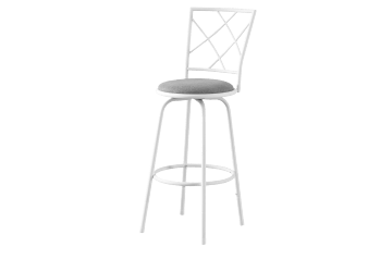 Set of 2 Silver Grey Metal Stools with White Seat product photo